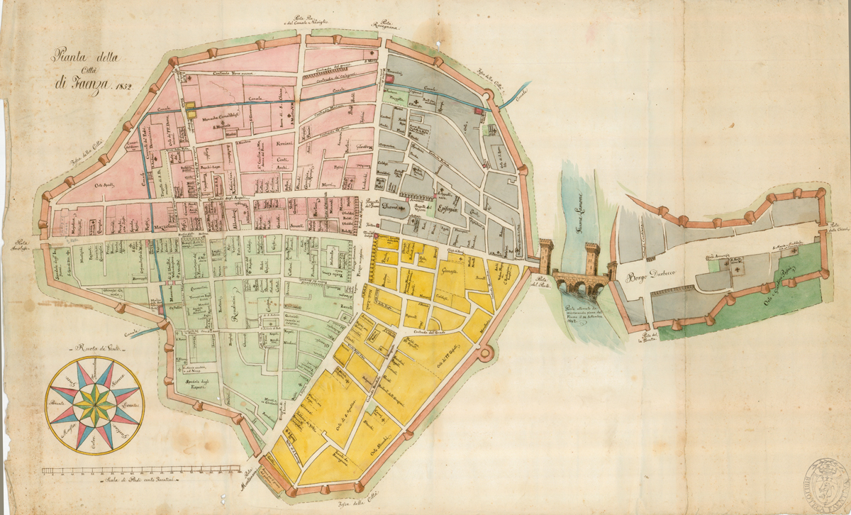 Pianta di Faenza - Ingazio Bosi - 1852 - Biblioteca Manfrediana Faenza